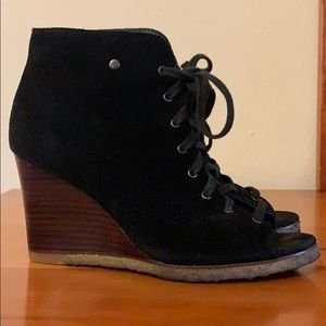 UGG dark black lace up peep toe wedge shoes.